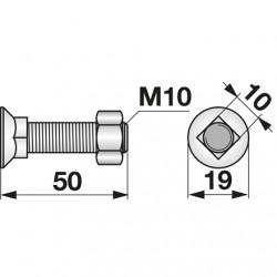 Skrutka + matica M10x50...