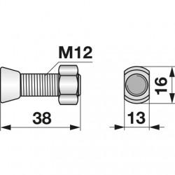 Skrutka + matica M12x40 pluh