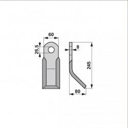 nôž Y 245x60x8/25,5mm