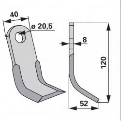 nôž Y 120x40x8/20,5mm